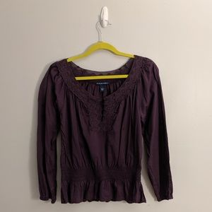 3/$25 Bandino Boho Purple Peasant Blouse